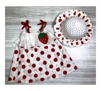 Комлект сукня+шляпка Полуничка червоний на бретельках 4070