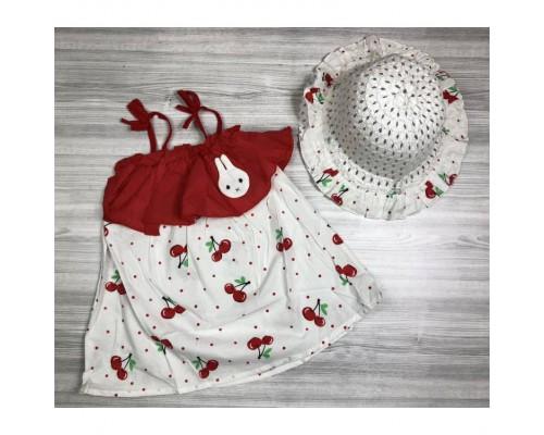 Комлект сукня+шляпка Вишенька червоний на бретельках 4068