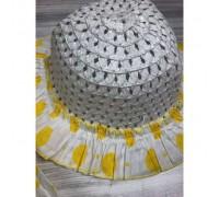 Комлект сукня+шляпка жовтий на бретельках 4069