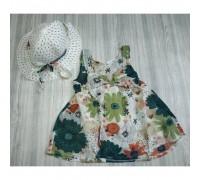 Комплект сукня + капелюх Flowers зелений 2959