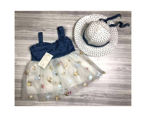 Комплект сукня + капелюшок білий 4056