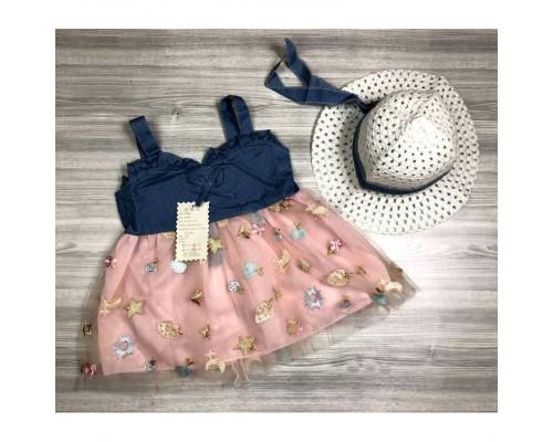 Комплект сукня + капелюшок рожевий 4057