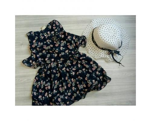 Комплект сукня + капелюшок синій 3211