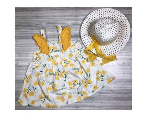 Комплект сукня+капелюшок Flowers жовтий 4081