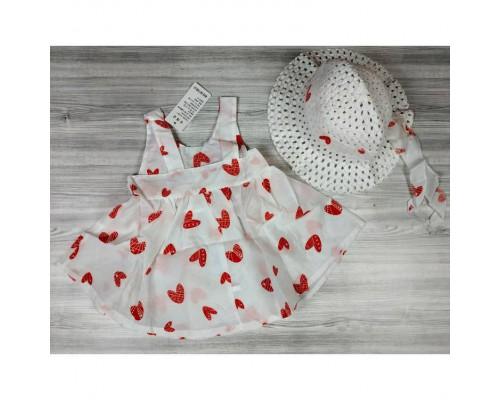 Комплект сукня+капелюшок Hearts червоний 4140