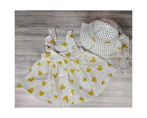 Комплект сукня+капелюшок Hearts жовтий 4141