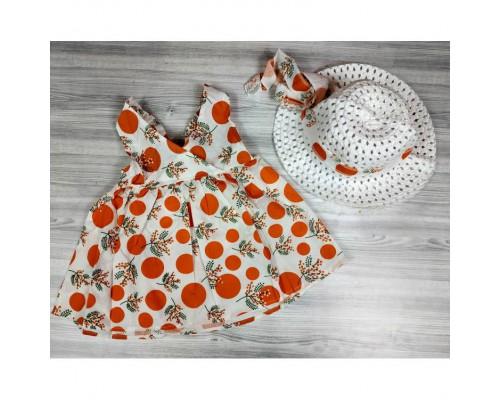 Комплект сукня+капелюшок оранж 4196