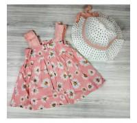 Комплект сукня+капелюшок Ромашка рожевий 4179