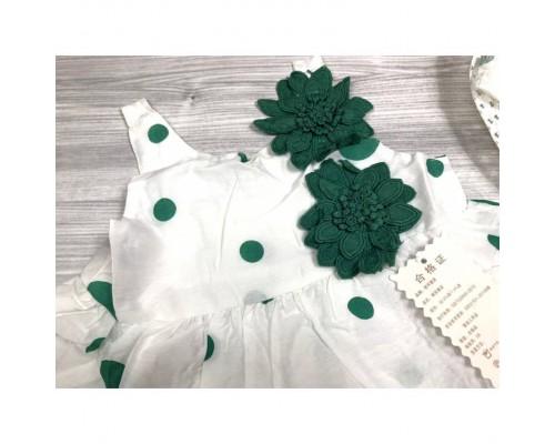 Комплект сукня+капелюшок зелений 4078