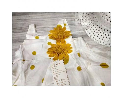 Комплект сукня+капелюшок жовтий 4079
