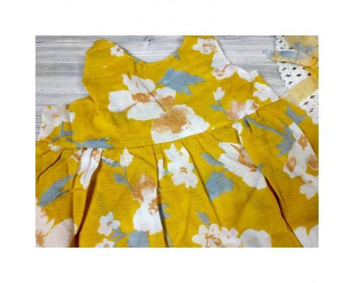 Комплект сукня+капелюшок жовтий 4177