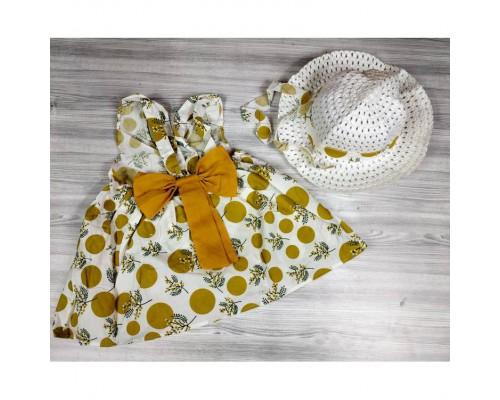 Комплект сукня+капелюшок жовтий 4194