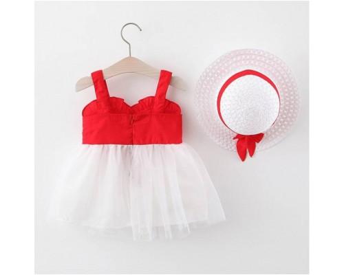 Комплект сукня+шляпка червоний 4072
