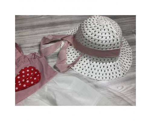 Комплект сукня+шляпка рожевий 4073