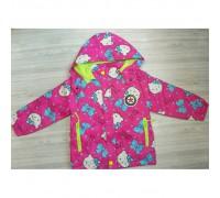 Куртка для дівчинки еврозима Hello Lucky малинова на флісі 3589