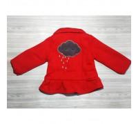 Пальто для дівчаток на весну червоне з хмаринкою