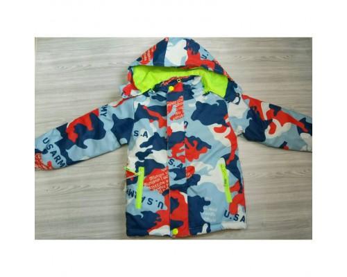 Демісезонна дитяча куртка на флісі оранж 3585