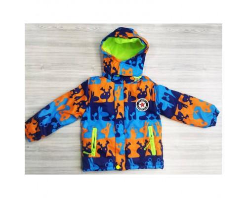 Демісезонна дитяча куртка на флісі синьо-оранжева