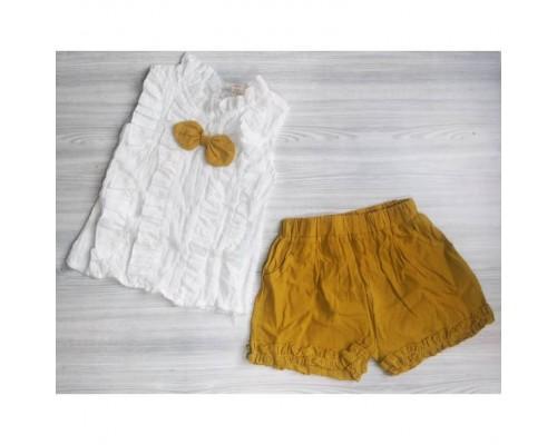 Наборчик літній для дівчаток з метеликом біло-оранжевий