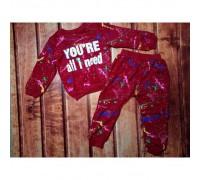 Спортивний костюм для дівчаток червоний 7769