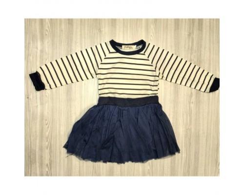 Сукня дитяча темно-синя, білий верх