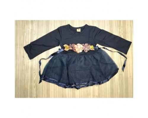Сукня дитяча з поясом з квіточками темно-синя