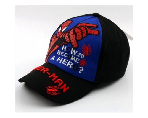 Кепка Spider-man чорна+синя 4165