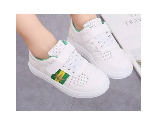 Кросівки дитячі PU-шкіра дихаючі з зеленими смужками