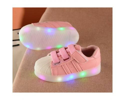 Кросівки дитячі PU-шкіра на гумці з затяжкою рожеві