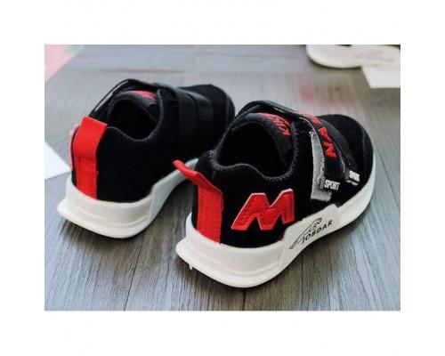 Кросівки дитячі PU-замш чорно-червоні
