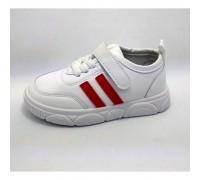 Кросовки дитячі PU-шкіра білі з червоними смужками