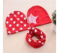 Набор 2 шапки+хомут Star червоний 3463
