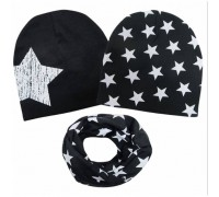 Набор 2 шапки+хомут Star чорний 3458