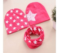 Набор 2 шапки+хомут Star малиновий 3467