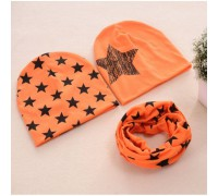 Набор 2 шапки+хомут Star оранж 3460