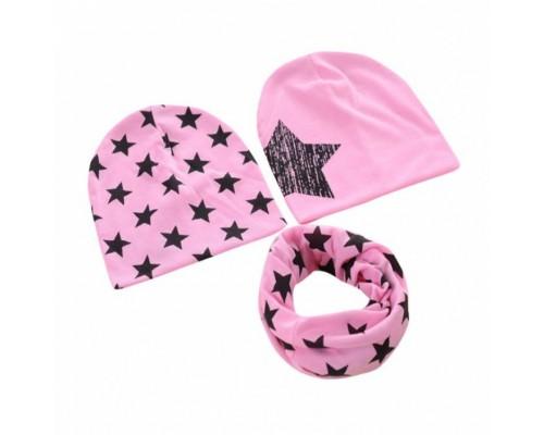 Набор 2 шапки+хомут Star рожевий 3459