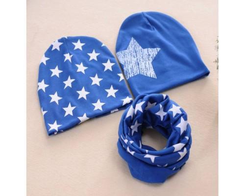 Набор 2 шапки+хомут Star синій 3465
