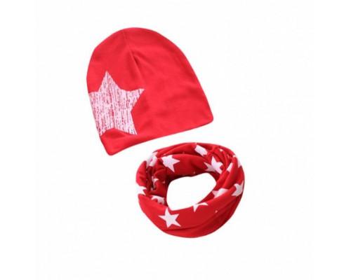 Набор шапка+хомут Star червоний 3450