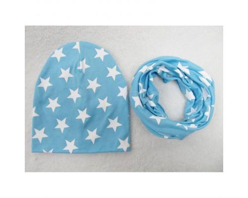Набор шапка+хомут Star голубий 3454