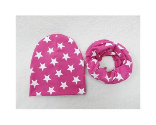 Набор шапка+хомут Star малиновий 3441