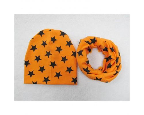 Набор шапка+хомут Star оранж 3444