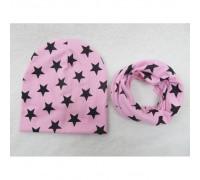 Набор шапка+хомут Star рожевий 3452