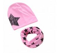 Набор шапка+хомут Star рожевий 3453