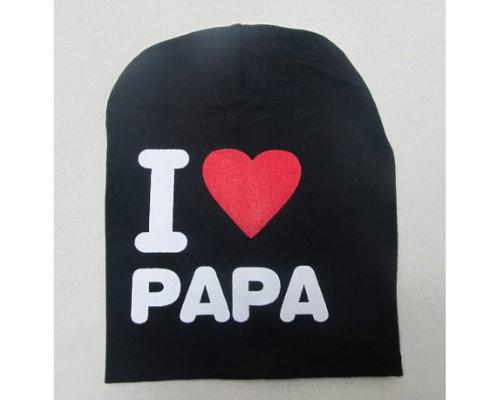 Шапка дитяча весна-осінь I love papa чорна 2857