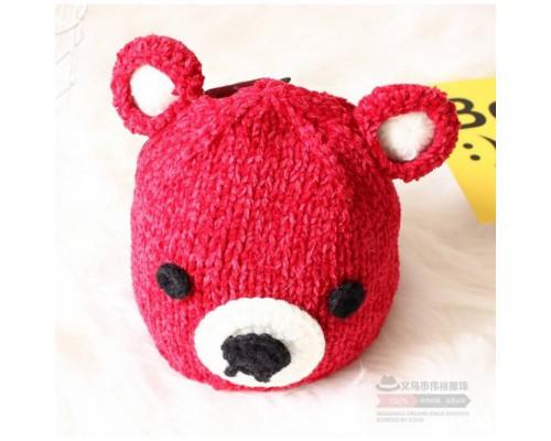 Шапка дитяча в'язана Teddy червона