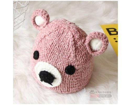 Шапка дитяча в'язана Teddy рожева