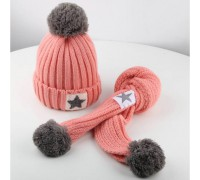 Шапка + шарф Зірка рожева 3558