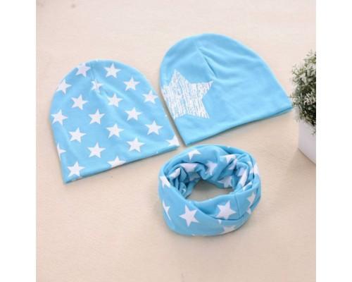 Набор 2 шапки+хомут Star блакитний 3462