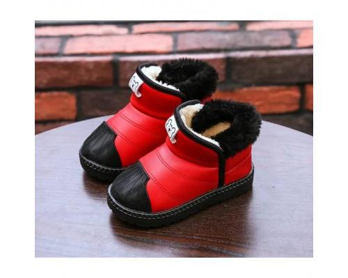 Черевики дитячі зимові з хутром PU-шкіра Baotou червоні