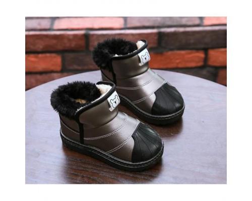 Черевики дитячі зимові з хутром PU-шкіра Baotou сірі